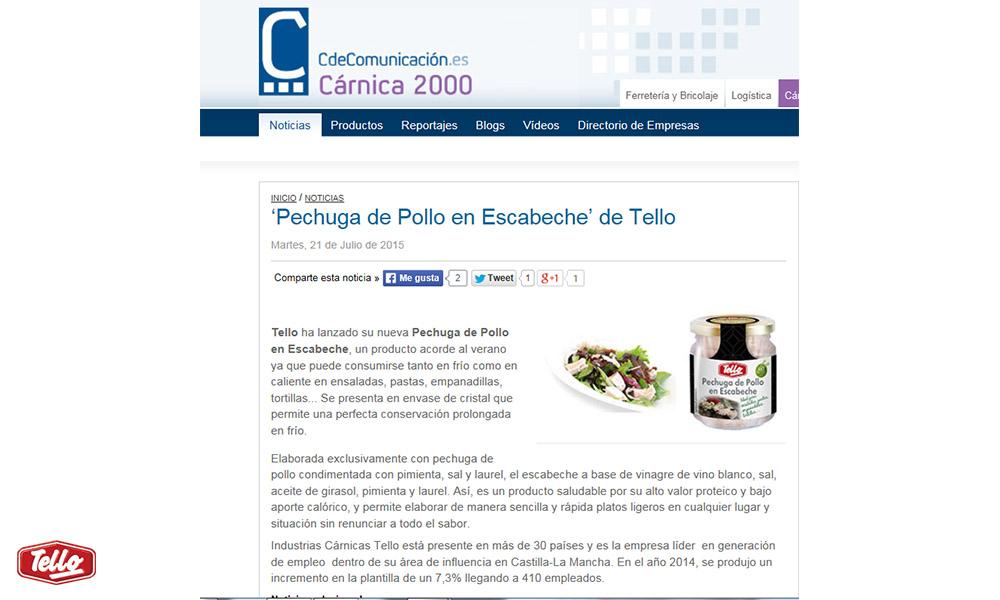 Tello lanza nueva pechuga de pollo en escabeche grupo - Cocinas tello ...